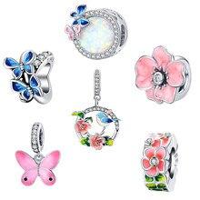 Bamoer coloré oiseaux fleurs feuilles CZ pendentif printemps breloque ajustement Original Bracelet bijoux accessoires bricolage faisant SCC1726