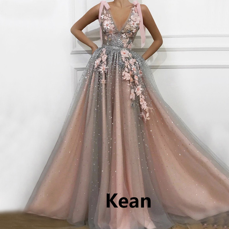 Pink Evening Dress v neck Flower Bow Special Occasion Party Dress robe soiree Islamic Dubai Kaftan Saudi Arabic Boho Prom Dress