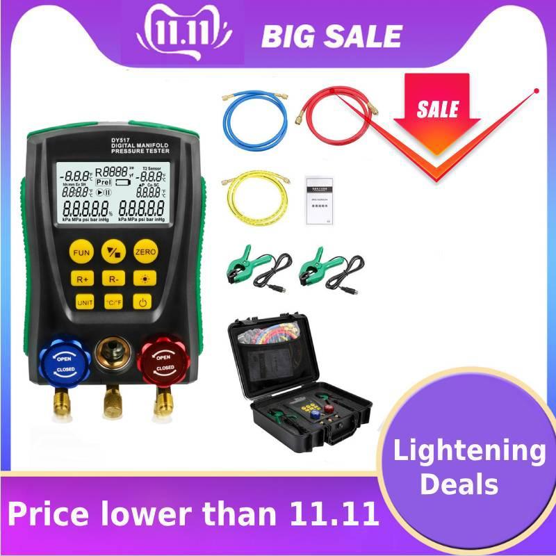 DY517 Digital Pressure Gauge Refrigeration Digital Vacuum Pressure Manifold Tester Meter HVAC Temperature Tester