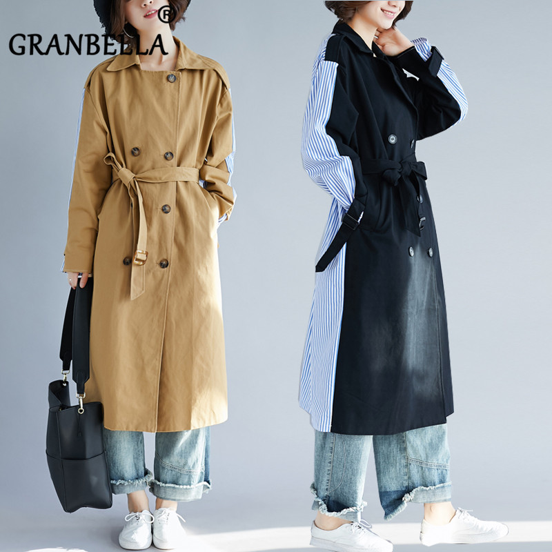 2019 Fashion Stitching Loose Female Windbreaker Chic Patchwork Women Soft   Trench   Coat With Belt Double Breasted