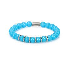 BOFEE Blue Stone Bracelet Bead Charms Link Stretch Wire Bangle Tiger Eye Pulseras Luxury Trendy Jewelry Fashion Gift Wholesale