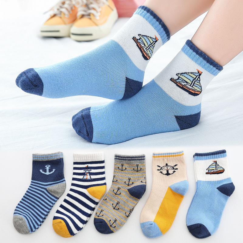 Boys Combed Cotton Socks Children's All Seasons Lovely Cartoon Prints Cozy Breathable Mesh Anti-Smell Soft Socks 5Pairs/Pack