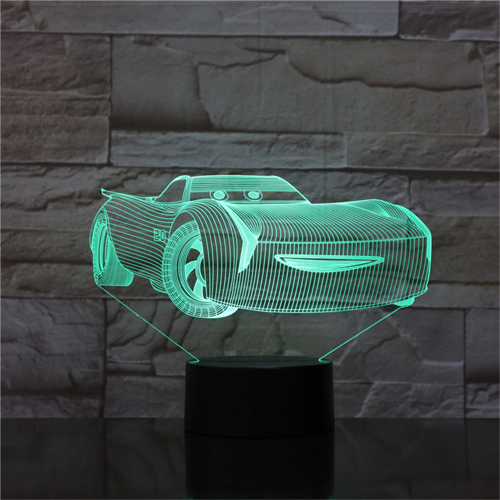 3D Night Light Cars Lightning McQueen Children Night Lamp Color Changed Acrylic Table Lamp Gifts For Kids Christmas Toy Dropship