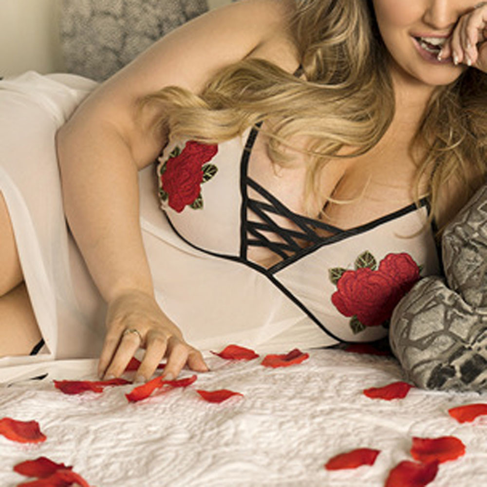 <font><b>Sexy</b></font> Nightwear Delicate Girls Cute <font><b>Lingerie</b></font> <font><b>Plus</b></font> <font><b>Size</b></font> Women Underwear Applique Nightdress Gecelik <font><b>Camisola</b></font> Fasion Clothes S-5XL image