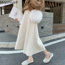 Knitted Skirt A-Line Thick High-Waist Mid-Length Mozuleva And Autumn Winter Large-Size