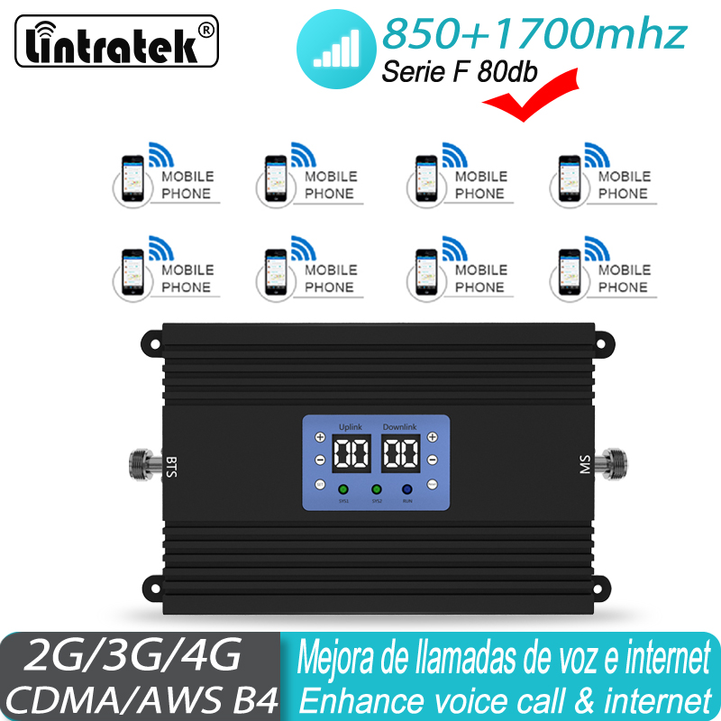 Amplificador De Red 850 2G 4G 1700 Mhz Repeater Cell Amplifier Band 5 Band 4 LTE 1700/2100 Cellular Booster # 40