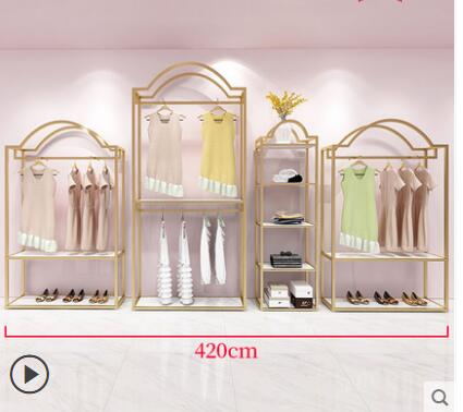 Clothing store display rack gold floor type special clothing rack for women on the wall display rack iron hanging clothes rack