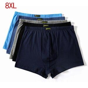 Image 1 - حجم كبير 5XL 6XL 7XL 8XL كبير فضفاض الذكور القطن داخلية الملاكمين عالية الخصر تنفس الدهون أحزمة ساحات كبيرة ملابس داخلية للرجال