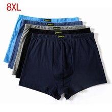 Plus size 5XL 6XL 7XL 8XL Grote losse mannelijke katoen Underwears Boxers hoge taille ademend vet riemen Grote werven mannens ondergoed
