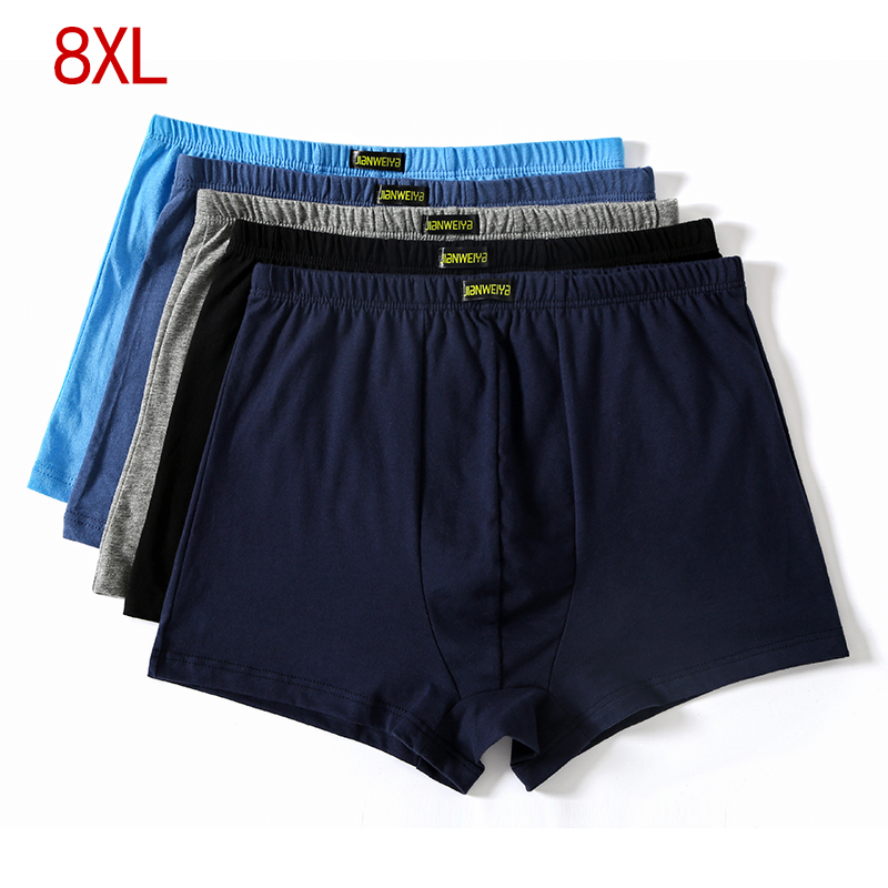 Plus Size 5XL 6XL 7XL 8XL  Large Loose  Male Cotton Underwears Boxers High Waist Breathable Fat Belts Big Yards Men's Underwear