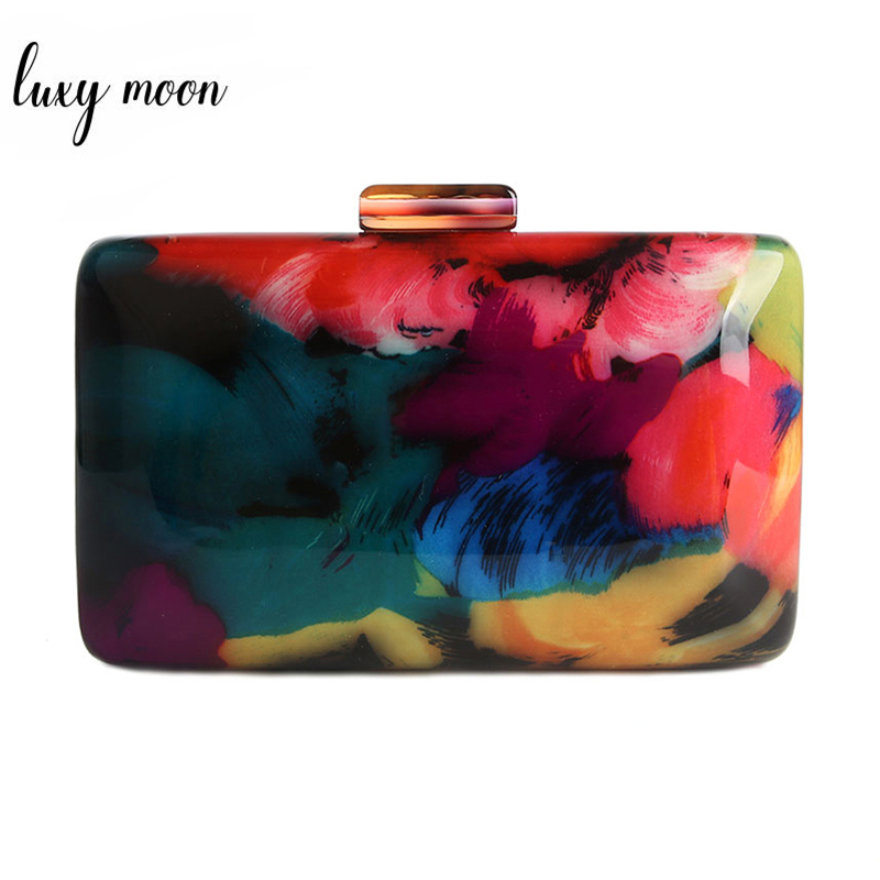 Acrylic Clutch Bag Female Evening Bags Acrylic Bag Colorful Printing Random Pattern Women Shoulder Bag Clutches Purse ZD1163
