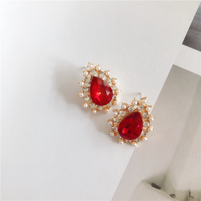 Hd45dc9374c1b473fa945371f1eb428edJ - 2019 New Hot Sale 20 Style Red Fashion Korean Elegant Geometric Dangle Earrings for Women Cute Pendant Mujer Jewelry