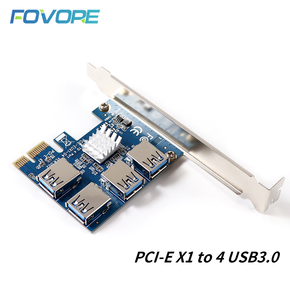 PCIE to PCI-E Adapter 1 Turn 4 PCI-Express Slot 1x to 16x USB 3.0 Mining Special Riser Card PCI e Converter for BTC Miner Mining