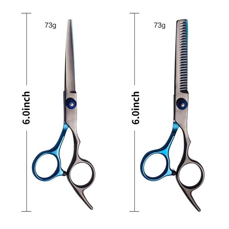 corte de aço inoxidável tesoura barbeiro conjunto cabelo sistores profissional
