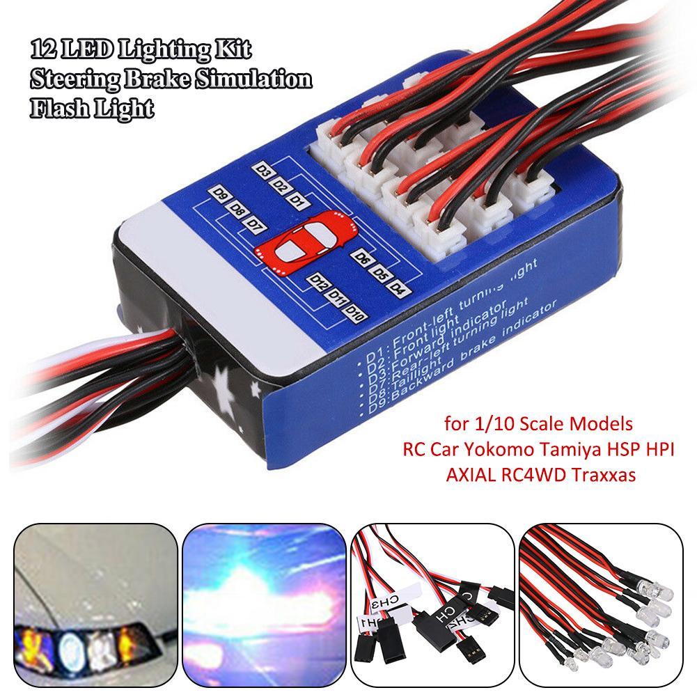 12 LED Lighting Kit Steering Brake Simulation Flash Light For 1/10 Scale Models RC Car Yokomo Tamiya HSP HPI AXIAL RC4WD Traxxas