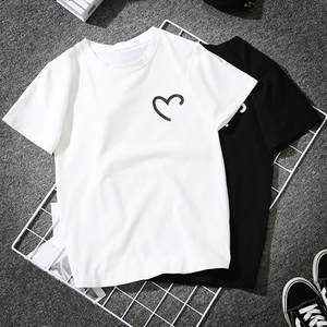 Tshirt Women Girls Plus Size Heart-shaped Print Short Sleeve T-shirt Tops Haut Femme Camiseta Mujer Top Women Poleras T Shirt