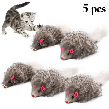 5pcs Furry Plush Cat Toy Soft Solid Interactive Mice Mouse Toys For Cats Funny Kitten Toy Pet Cats Training Game Cat Supplies