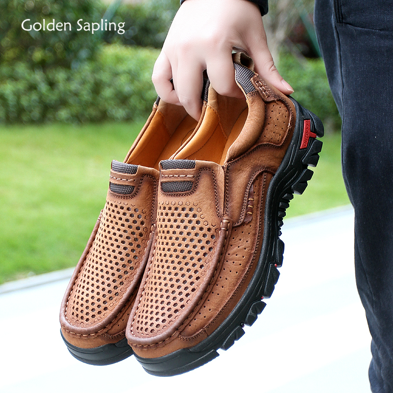 Men/'s Summer respirant creux lacets cuir Chaussures De Marche Baskets grande taille