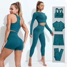 2 3 4PCS Seamless Women Yoga Set Workout Sportswear Gym Clothes Fitness Long Sleeve Crop Top High Waist Leggings Sports Suit2021