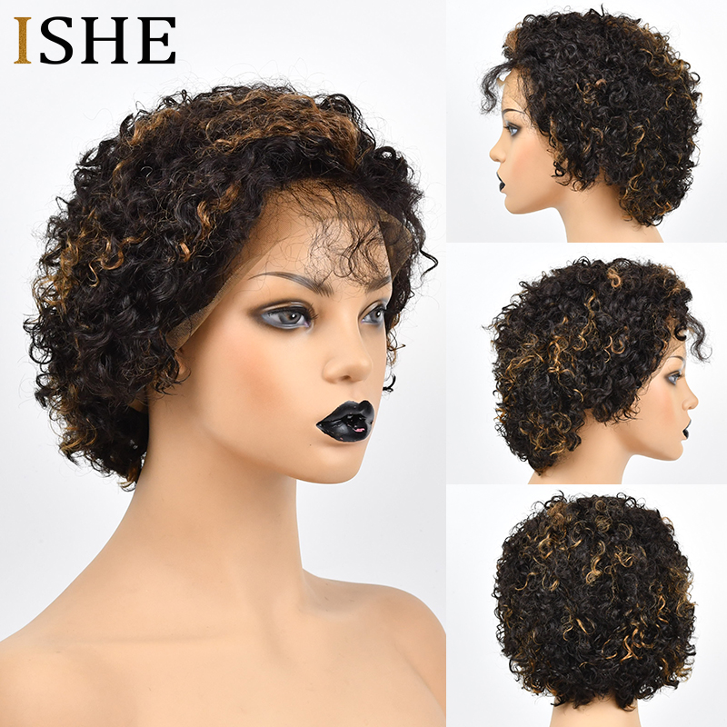 Curly Front Lace Human Hair Short Wigs 4 Color Bob Wigs Remy Brazilian Hair Glueless Lace Frontal Wig For Women 1B Black Hair