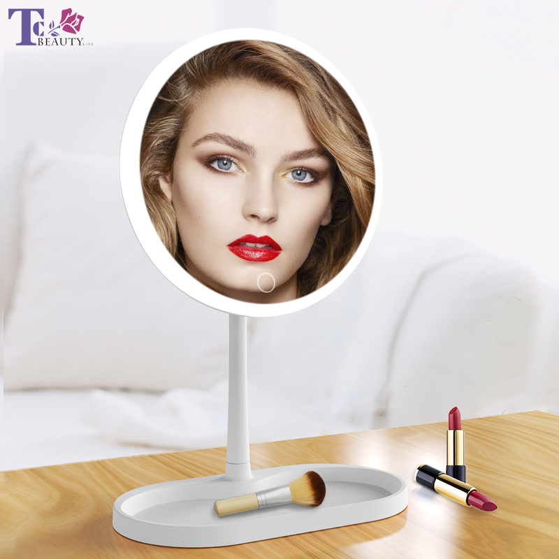 LED Lights Touch Screen Makeup Mirror 7inch Desktop Vanity Mirror with LED Light USB Cable Or Batteries Use Dropshipping