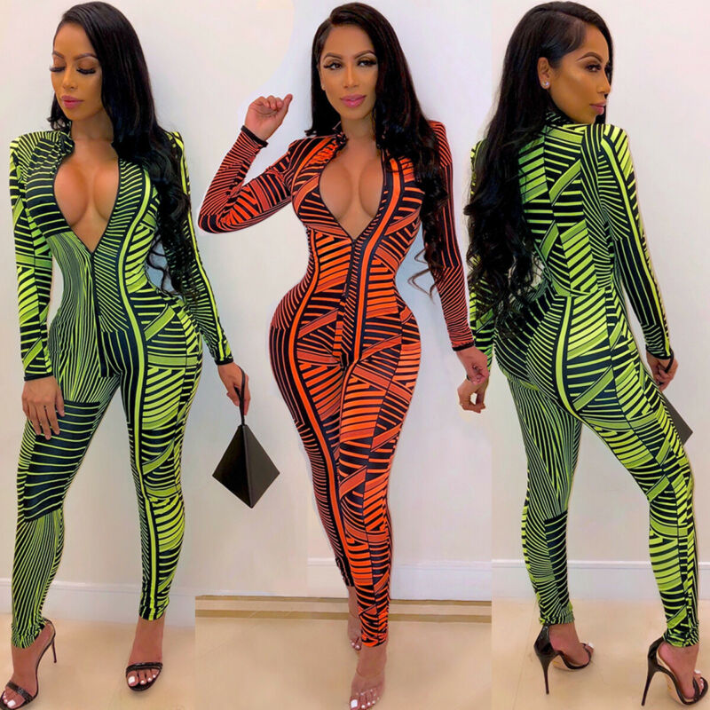 Retro Sexy Women Deep V-Neck Print Backless Bodycon Jumpsuit Playsuit Party Skinny Long Trousers Romper Casual Clubwear hot