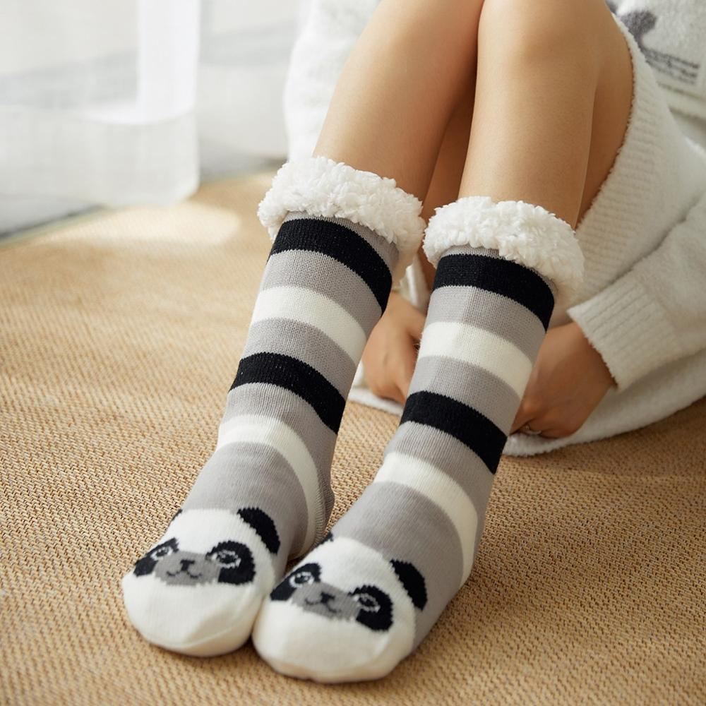 Christmas Socks Women Girls Thicker Warm Winter Panda Printed Funny Socks For Home Floor Anti-slip Calcetines Mujer Dropship C