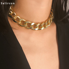 Salircon Punk Choker Necklace othic Chunky Chain Personality Vintage Women fashion Gold Sliver Rock jewelry 2019 New
