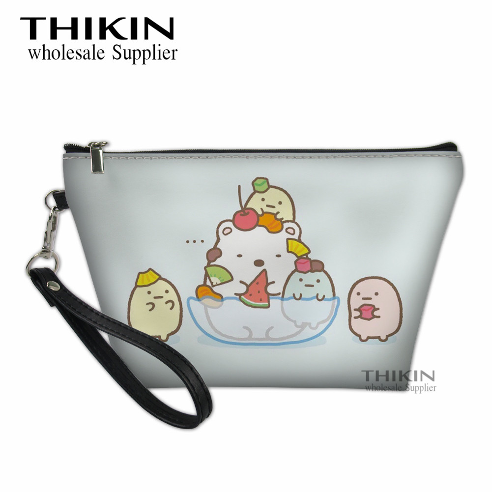 THIKIN Sumikko Gurashi Print Girls Make Up Bags Japan's Cutest Collectables Women Makeup Organizer Bag Kawaii Beauty Case Box