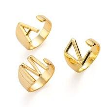 2020 najnowszy trend Fashion pierścionek w złotym kolorze dla kobiet A-Z list regulowany pierścień otwierający biżuteria femelle Bague