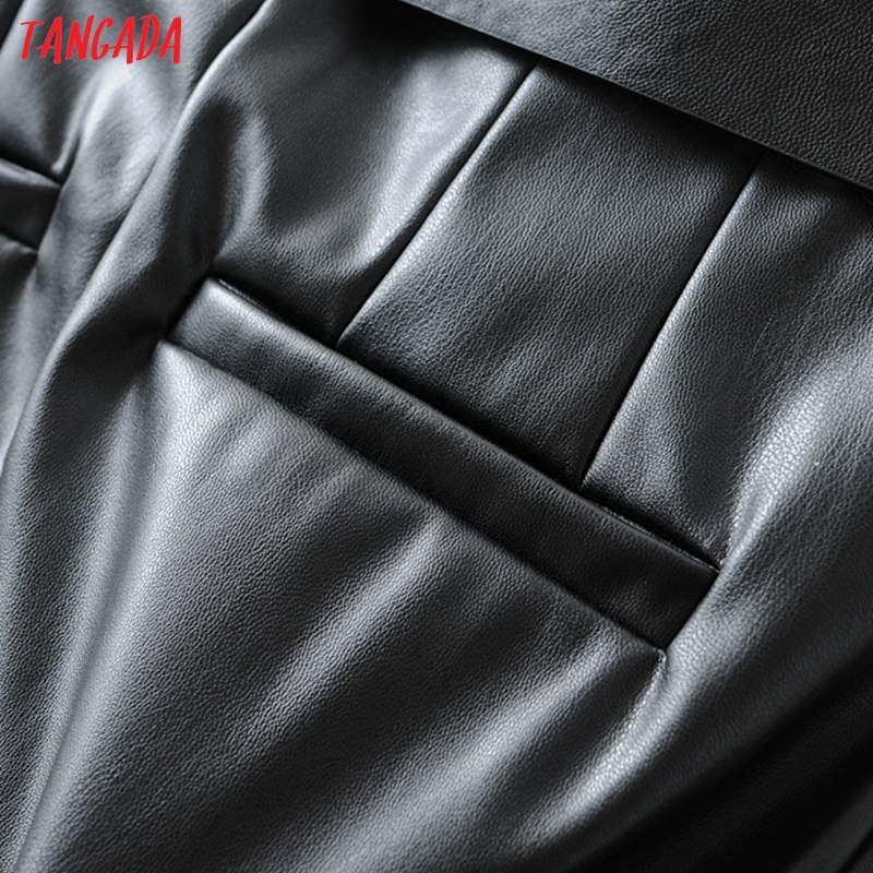 Tangada women black faux leather suit pants high waist pants sashes pockets 2019 office ladies pu leather trousers 6A05 53