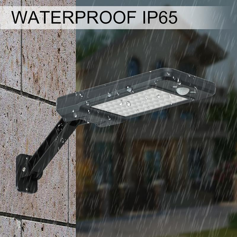 <font><b>Solar</b></font> <font><b>60</b></font> <font><b>LED</b></font> Dimmable Wall Street Light PIR Motion Sensor Outdoor Garden Lamp with remote control <font><b>solar</b></font> street light <font><b>solar</b></font> lamp image