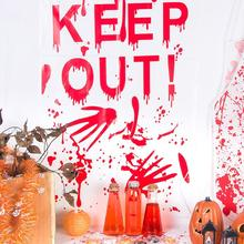 1pc Window Sticker Halloween Keep Out Decor Red Bloody Pattern Hand Print Door Wall Plastic Party Supplies Decorations