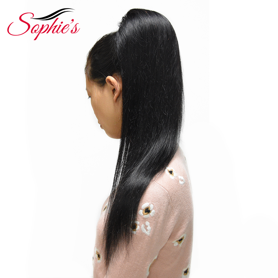 Sophie's Straight Ponytail 100% Human Hair Drawstring Ponytail With Clips in For Women Brazilian Non Remy Hair Free Shipping