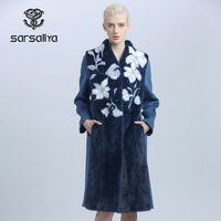 Women Wool Cashmere Coat With Mink Fur Winter Long Female Trench Coat Real Fur Mandarin Collar A Line Long Sleeves Warm Clothes