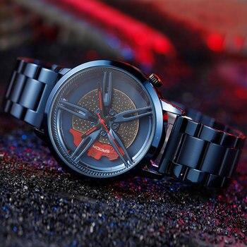 Уникальные спортивные мужские часы с автомобильным колесом, часы в стиле хип-хоп со стальным ремешком, кварцевые наручные часы со скелетом, ...