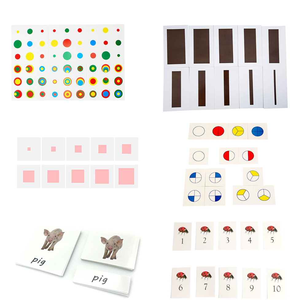 Color Montessori Cylinder Cards Pink Tower Brown Stair Animal Cards Educational Words Learning Toys For Children K2144H(China)