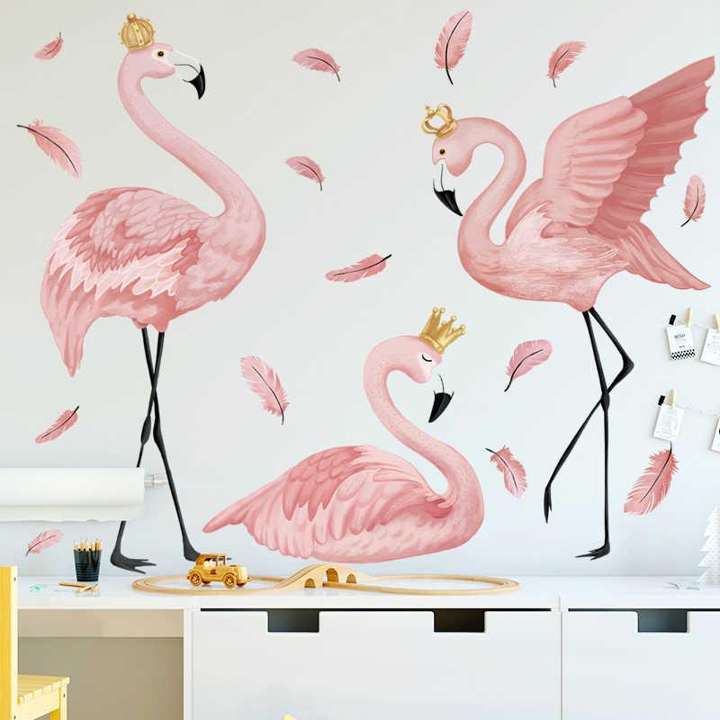 Flamingo kraliçe duvar çıkartmaları ev dekor oturma odası yatak odası çocuk kız odası kreş dekorasyon sanat resimleri süpürgelik vinil çıkartmaları