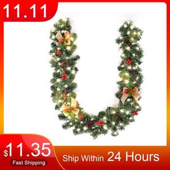 Xmas Supplies 1.8M Christmas Decoration Bar Tops Ribbon Garland Christmas Tree Ornaments Green Tree Cane Tinsel Party Supplies