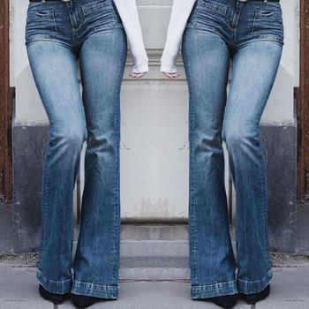 Dżinsy damskie dżinsy dla mamy dżinsy wysokiej talii dżinsy w dużym rozmiarze elastyczna Plus luźna kieszeń dżinsowa Casual Boot Cut Pant Jeans брюки tanie i dobre opinie WHooHoo Poliester Pełnej długości CN (pochodzenie) Osób w wieku 18-35 lat 2434534 Na co dzień Zmiękczania Przycisk fly