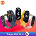 Умный Браслет Xiaomi Mi Band 6 Смарт Браслет 5 цветов активно-матричные осид, уровень кислорода в крови Mi 6 фитнес Traker сердечного ритма Bluetooth водонеп...