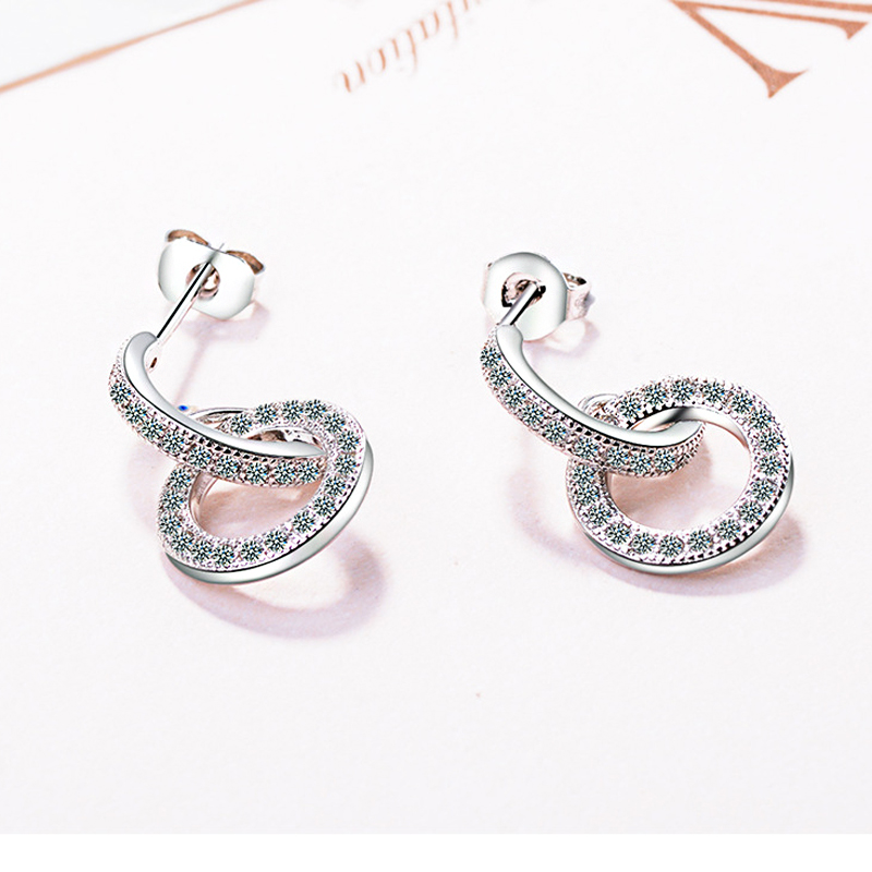 New 925 Sterling Silver Fashion Exquisite Round Rhinestone Drop Earrings Punk Rock Arch Bridge Pendant Ear Stud Women Jewelry