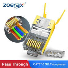 ZoeRax RJ45 Cat7 & Cat6A Pass Through connectors 8P8C 50UM Gold Plated Shielded FTP/STP | EZ RJ45 Network Modular Plug