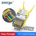 ZoeRax RJ45 Cat7 & Cat6A Pass Durch anschlüsse 8P8C 50UM Gold Überzogene Geschirmt FTP/STP | RJ45 Netzwerk Modulare stecker