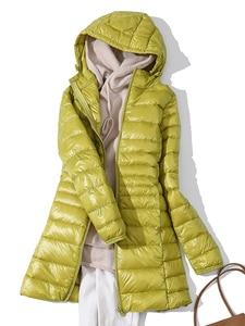 Image 2 - 7XL 겨울 여자 패딩 후드 롱 자켓 화이트 오리 여성 오버 코트 울트라 라이트 슬림 솔리드 자켓 코트 휴대용 파커