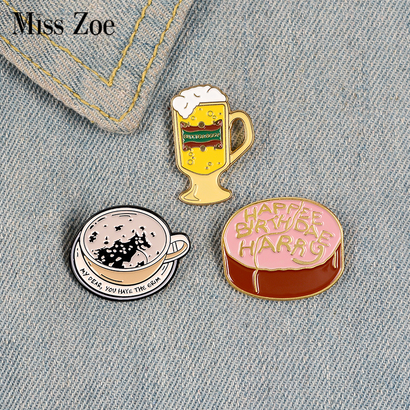 Butterbeer Enamel Pin Custom Birthday Cake Coffee Brooches Shirt Lapel Bag Magic World Badge Book Movie Jewelry Gift for Fans image