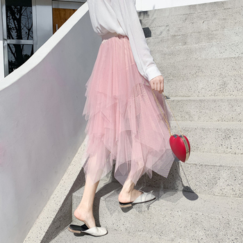 2019 Fashion Elastic High Waist Mesh Tutu Maxi Pleated Long Midi Saias Jupe Women's Skirt Tulle Skirts Womens Faldas Mujer Moda 3