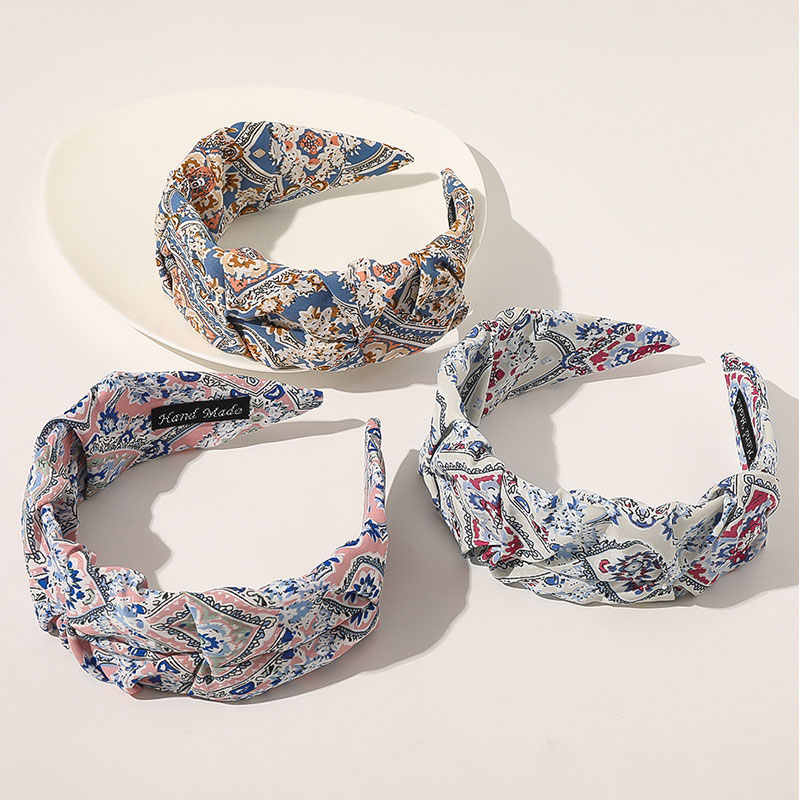 Floral Flower Printed Bow Hair Hoop Stretch Hairbands Satin Knotted Headband