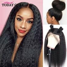 Dziś tylko peruwiańskie peruki z włosami kręconymi i prostymi 180 gęstość koronki przodu peruki z ludzkich włosów dla czarnych kobiet 13x6 koronkowa peruka na przód 8 26 cali Remy