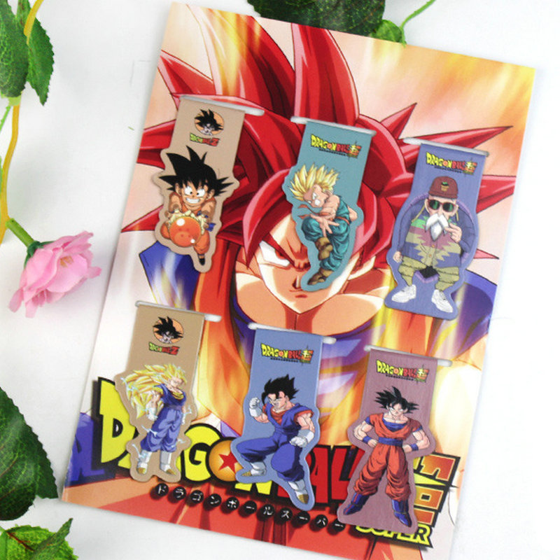6pcs Dragon Ball Z Anime Magnetic Bookmark Cartoon Magnet Bookmark Child Student Kawaii Gift Bookmarks Office Stationery